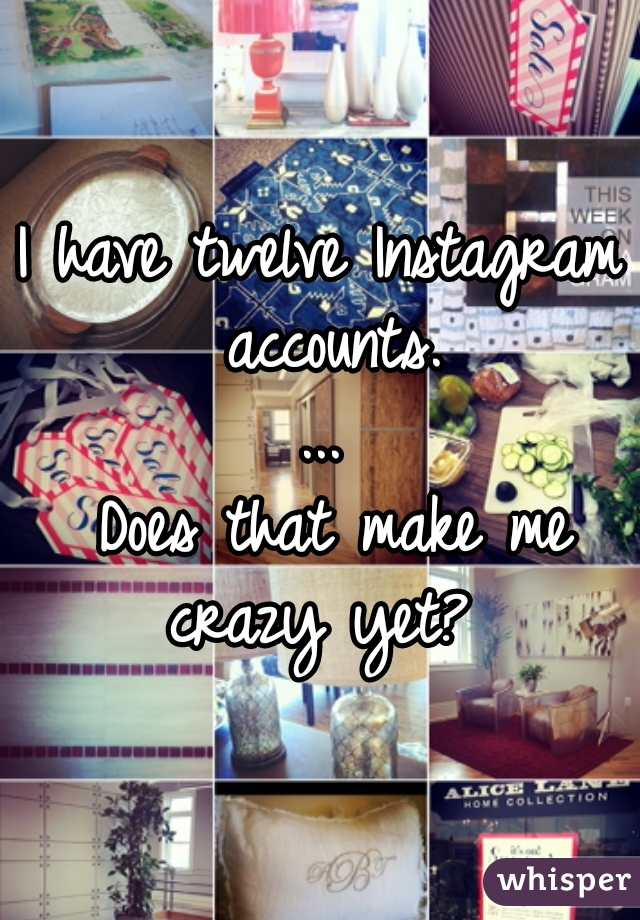 I have twelve Instagram accounts. ...  Does that make me crazy yet?