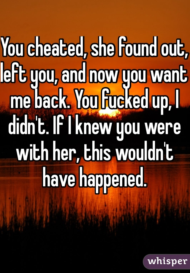 You cheated, she found out, left you, and now you want me back. You fucked up, I didn't. If I knew you were with her, this wouldn't have happened.