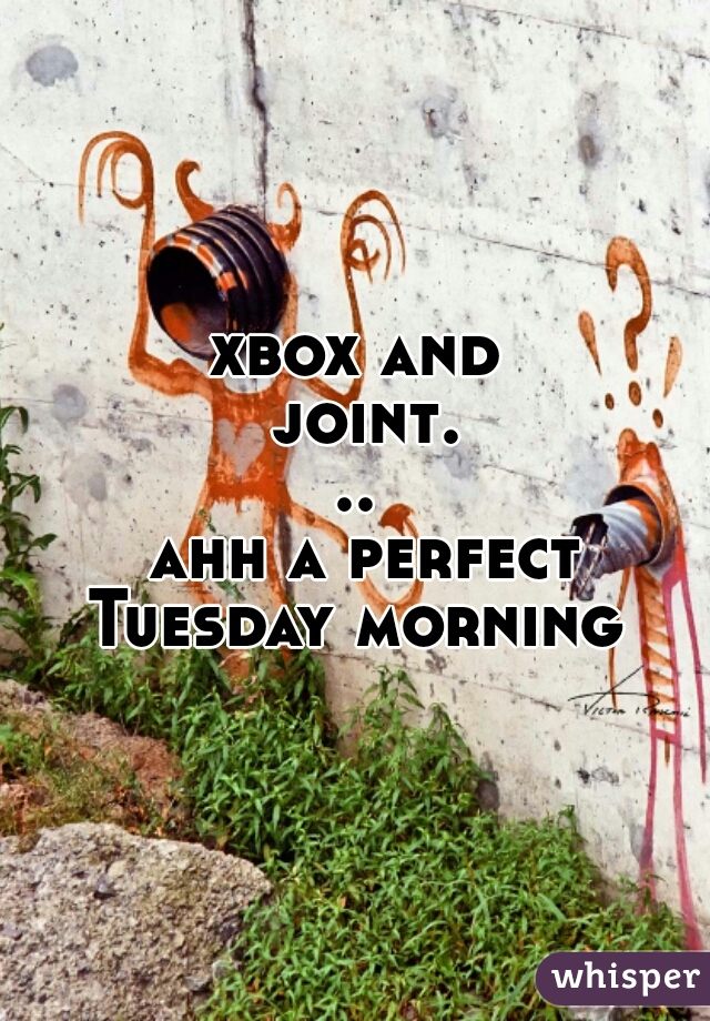 xbox and joint...  ahh a perfect Tuesday morning