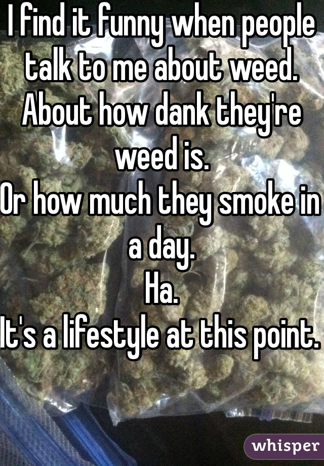 I find it funny when people talk to me about weed.  About how dank they're weed is.  Or how much they smoke in a day.  Ha.  It's a lifestyle at this point.