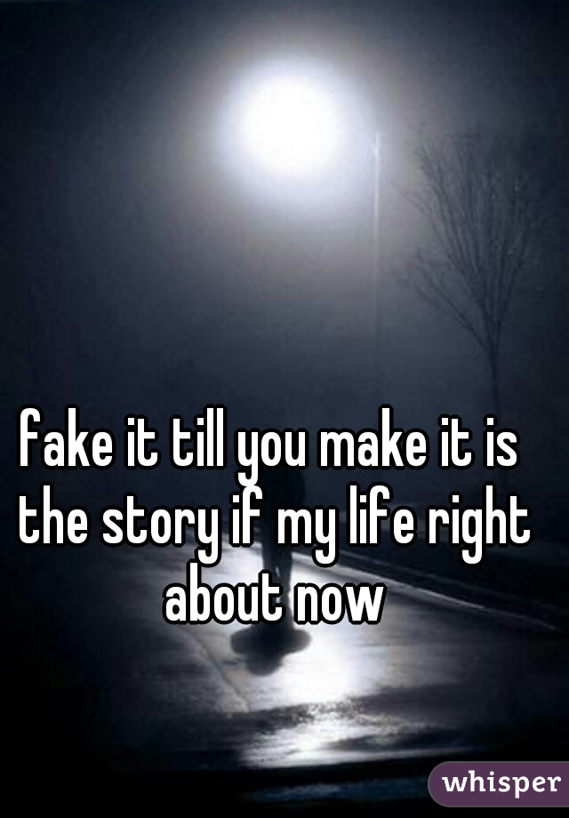 fake it till you make it is the story if my life right about now
