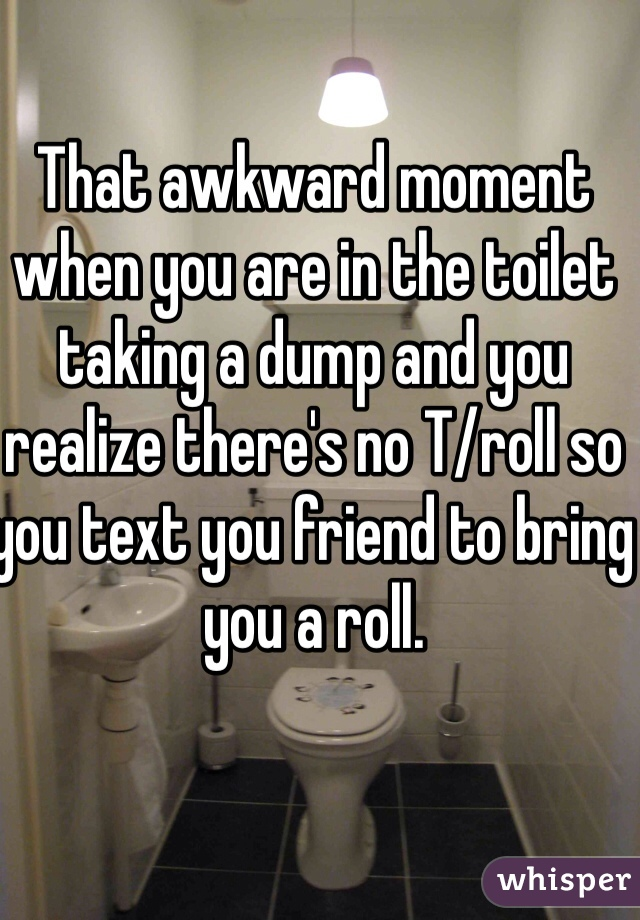 That awkward moment when you are in the toilet taking a dump and you realize there's no T/roll so you text you friend to bring you a roll.