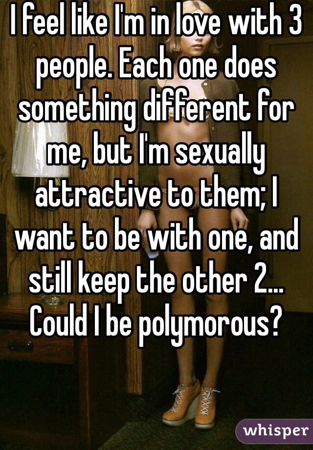 I feel like I'm in love with 3 people. Each one does something different for me, but I'm sexually attractive to them; I want to be with one, and still keep the other 2... Could I be polymorous?