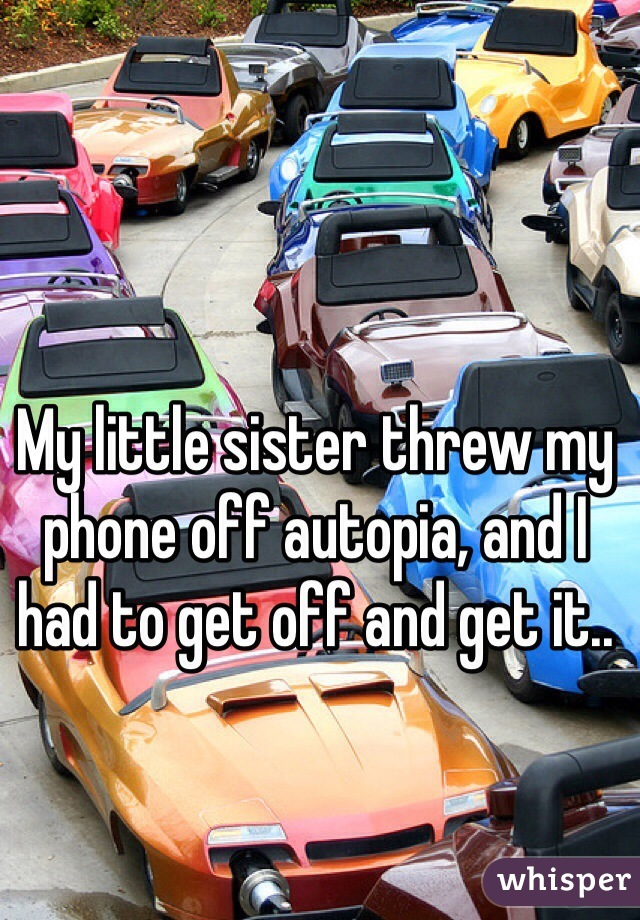 My little sister threw my phone off autopia, and I had to get off and get it..