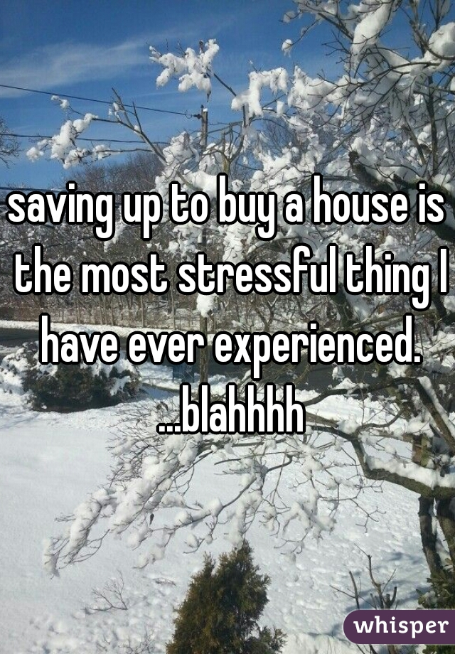 saving up to buy a house is the most stressful thing I have ever experienced. ...blahhhh