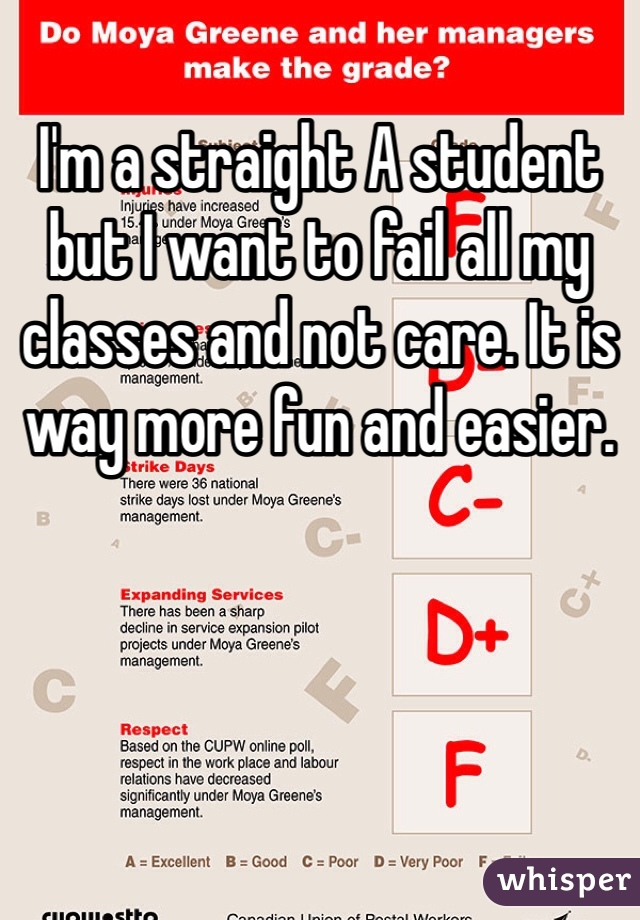 I'm a straight A student but I want to fail all my classes and not care. It is way more fun and easier.