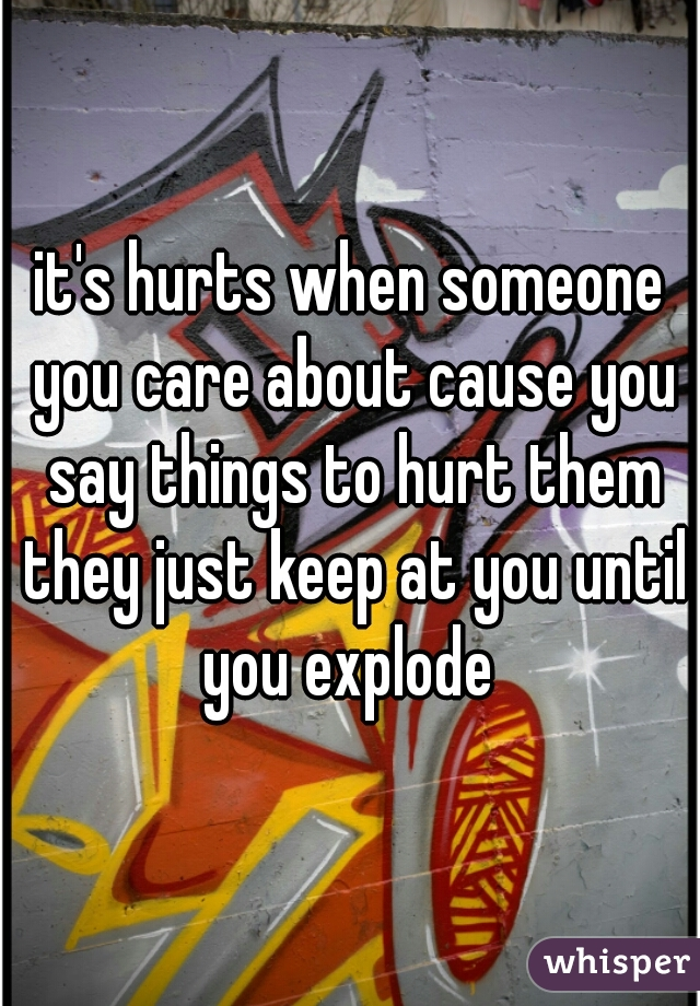 it's hurts when someone you care about cause you say things to hurt them they just keep at you until you explode