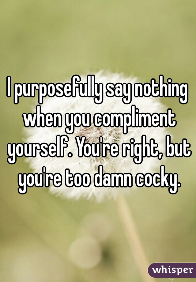 I purposefully say nothing when you compliment yourself. You're right, but you're too damn cocky.