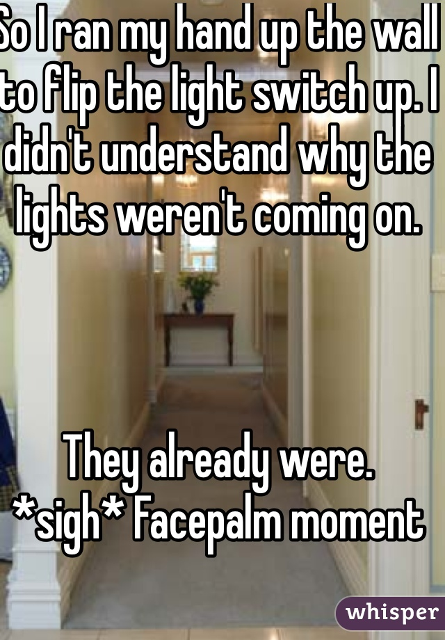 So I ran my hand up the wall to flip the light switch up. I didn't understand why the lights weren't coming on.    They already were. *sigh* Facepalm moment