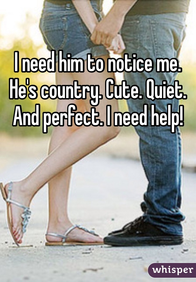 I need him to notice me. He's country. Cute. Quiet. And perfect. I need help!