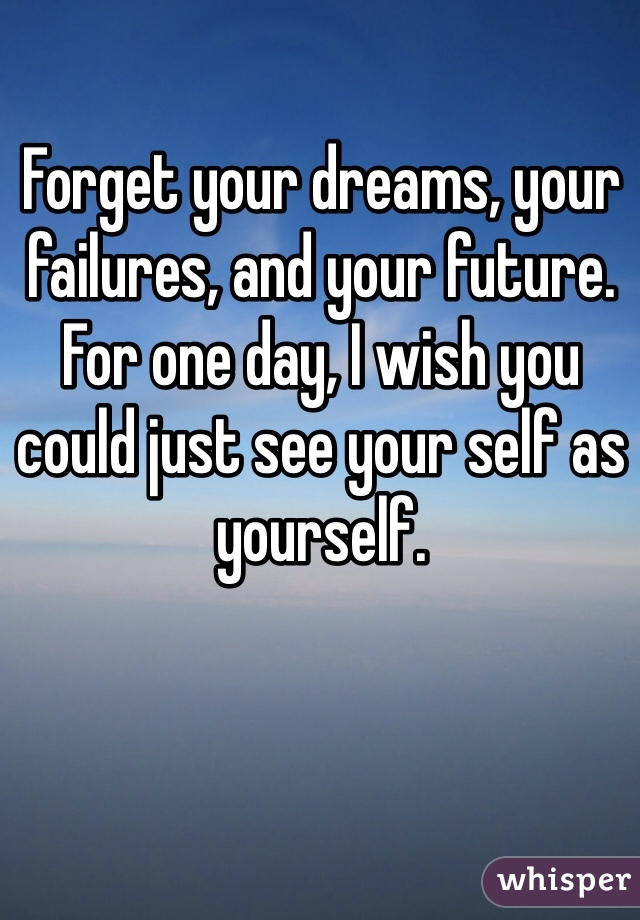 Forget your dreams, your failures, and your future. For one day, I wish you could just see your self as yourself.
