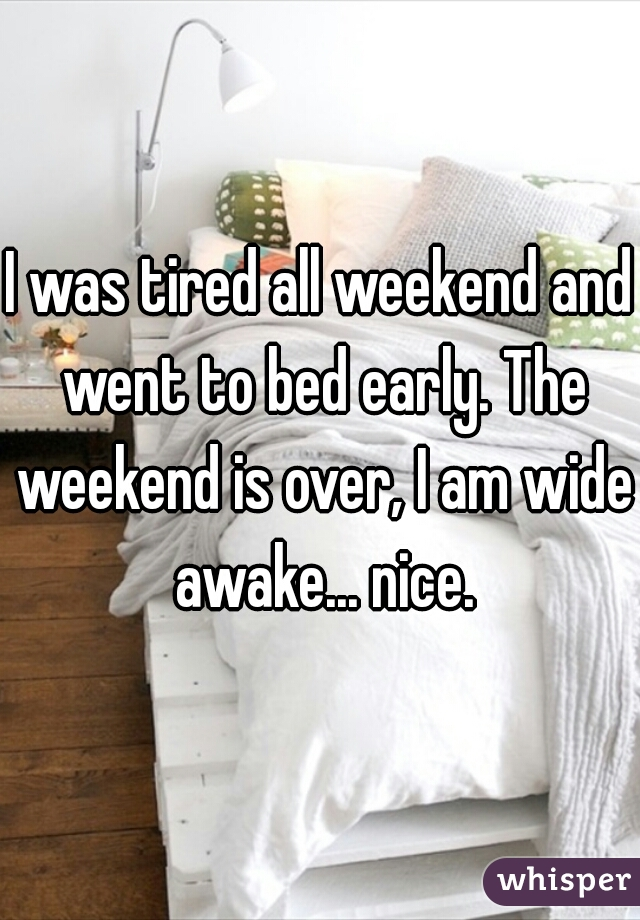 I was tired all weekend and went to bed early. The weekend is over, I am wide awake... nice.
