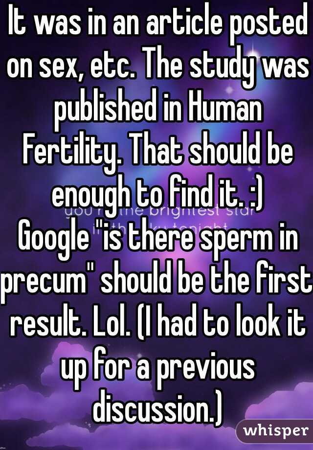 is there sperm in precum