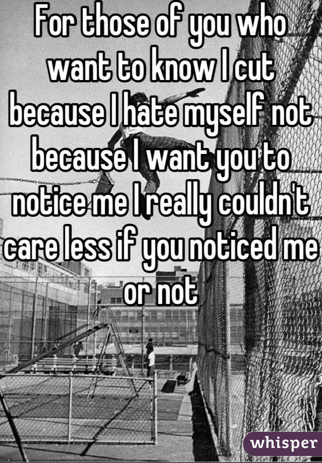 For those of you who want to know I cut because I hate myself not because I want you to notice me I really couldn't care less if you noticed me or not