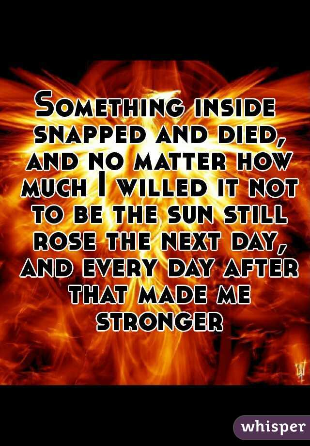 Something inside snapped and died, and no matter how much I willed it not to be the sun still rose the next day, and every day after that made me stronger