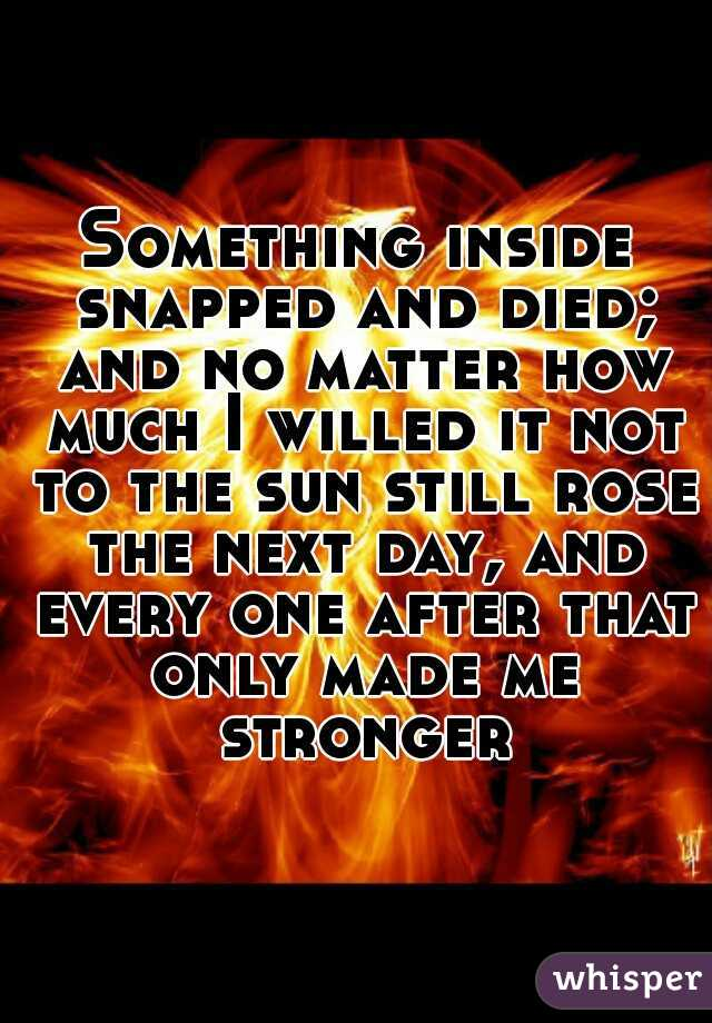 Something inside snapped and died; and no matter how much I willed it not to the sun still rose the next day, and every one after that only made me stronger