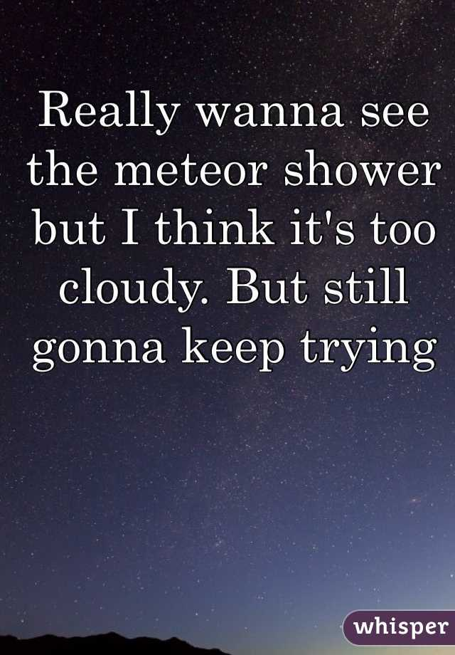 Really wanna see the meteor shower but I think it's too cloudy. But still gonna keep trying