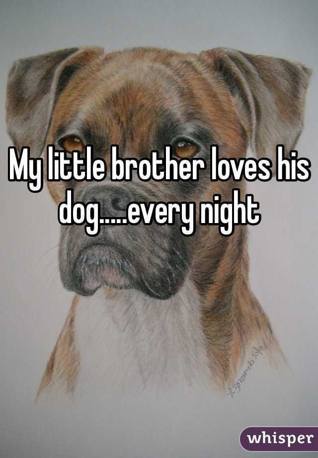 My little brother loves his dog.....every night