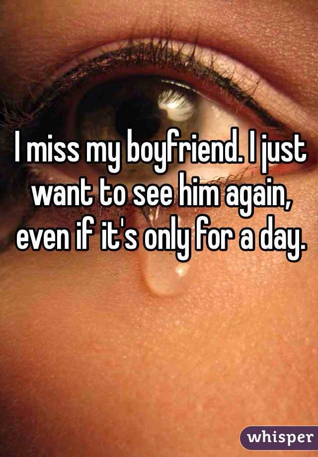 I miss my boyfriend. I just want to see him again, even if it's only for a day.