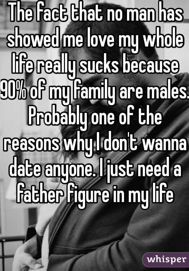 The fact that no man has showed me love my whole life really sucks because 90% of my family are males. Probably one of the reasons why I don't wanna date anyone. I just need a father figure in my life