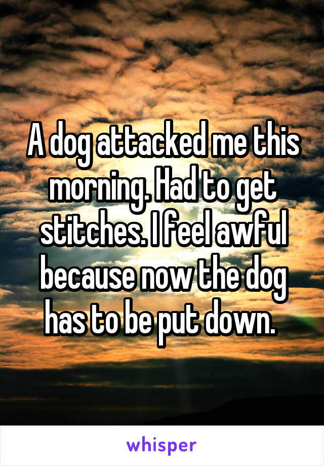 A dog attacked me this morning. Had to get stitches. I feel awful because now the dog has to be put down.