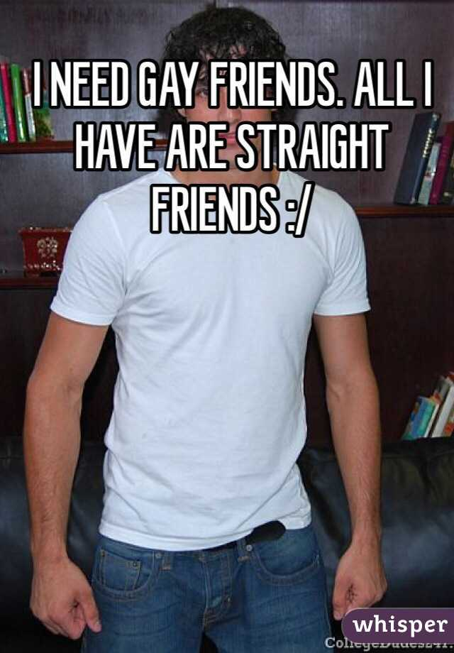 I NEED GAY FRIENDS. ALL I HAVE ARE STRAIGHT FRIENDS :/