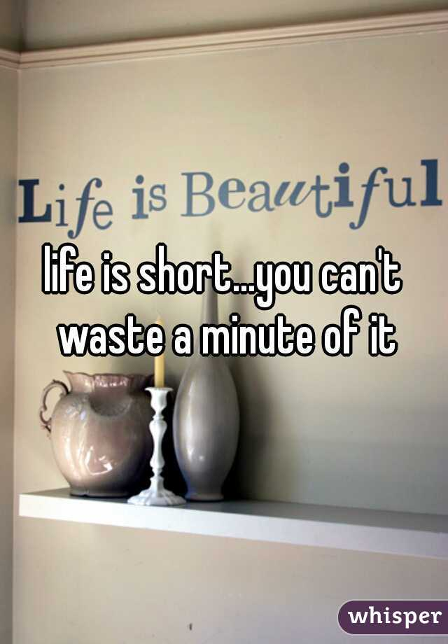 life is short...you can't waste a minute of it