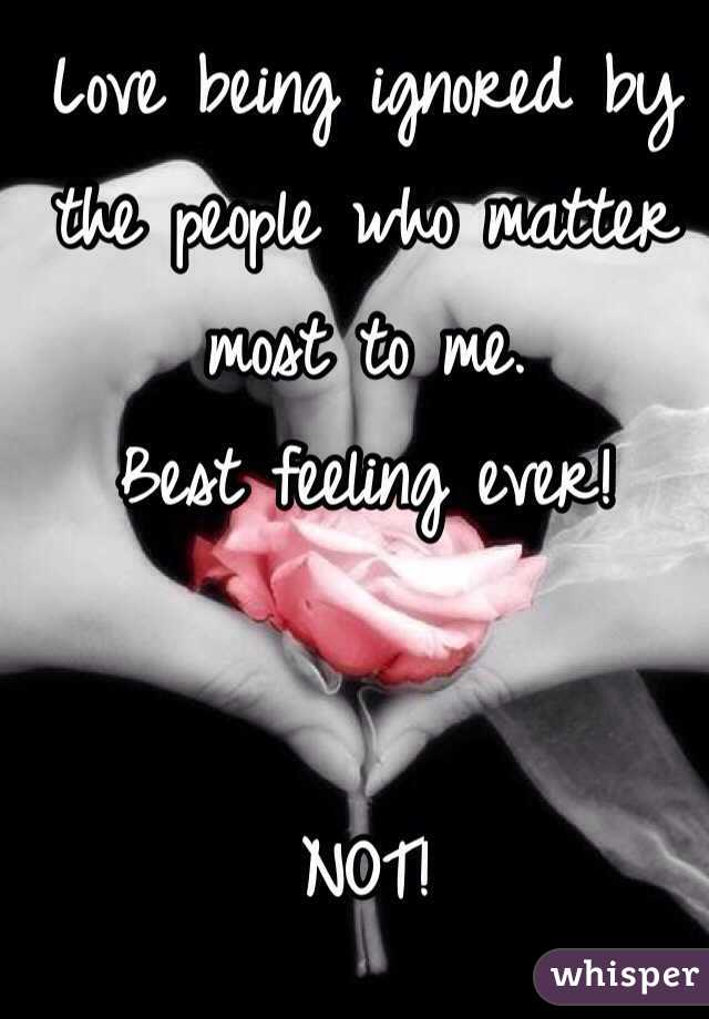 Love being ignored by the people who matter most to me.  Best feeling ever!    NOT!