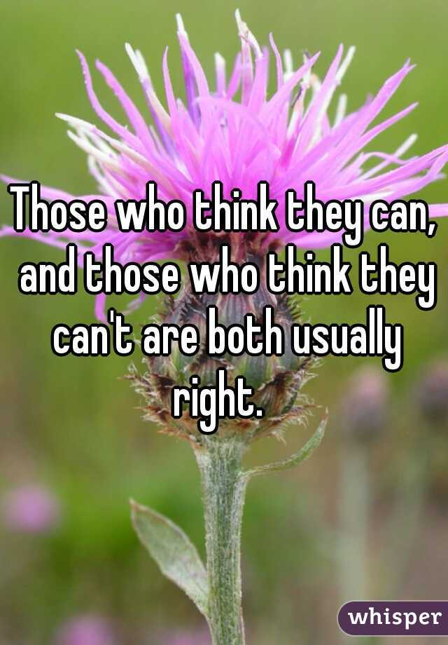 Those who think they can, and those who think they can't are both usually right.