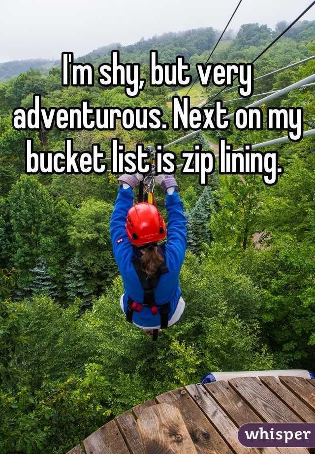 I'm shy, but very adventurous. Next on my bucket list is zip lining.