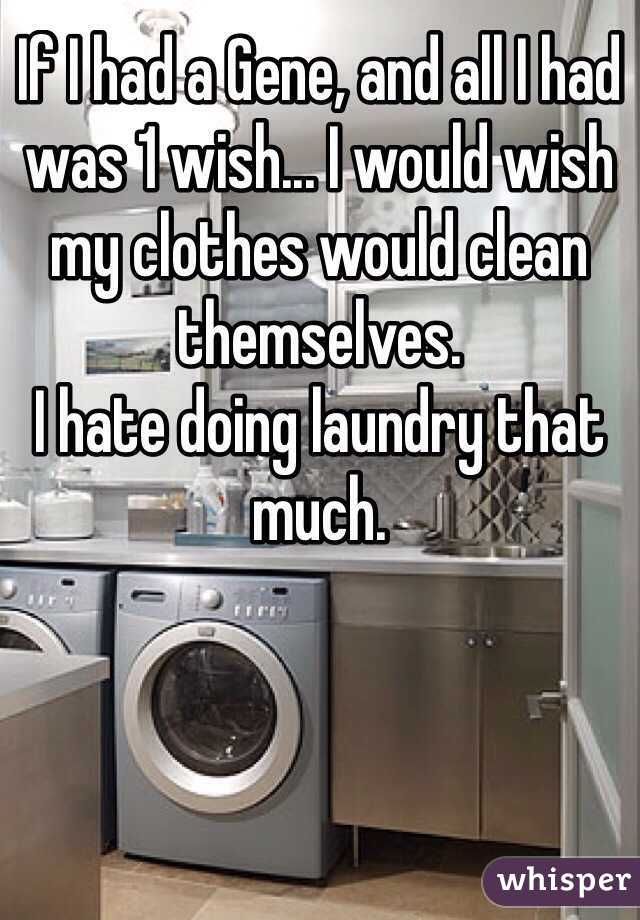 If I had a Gene, and all I had was 1 wish... I would wish my clothes would clean themselves.  I hate doing laundry that much.