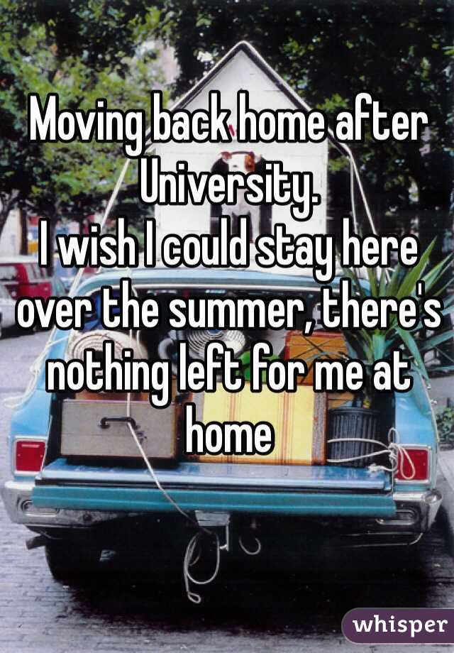 Moving back home after University.  I wish I could stay here over the summer, there's nothing left for me at home