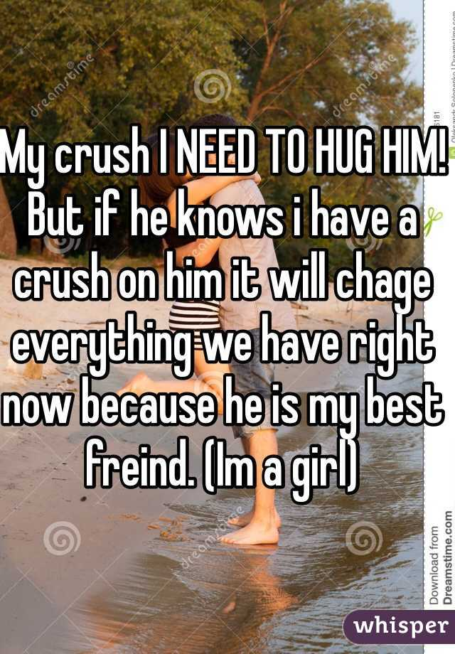 My crush I NEED TO HUG HIM! But if he knows i have a crush on him it will chage everything we have right now because he is my best freind. (Im a girl)