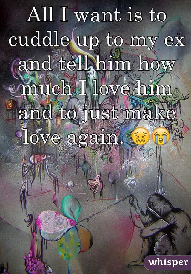 All I want is to cuddle up to my ex and tell him how much I love him and to just make love again. 😖😭