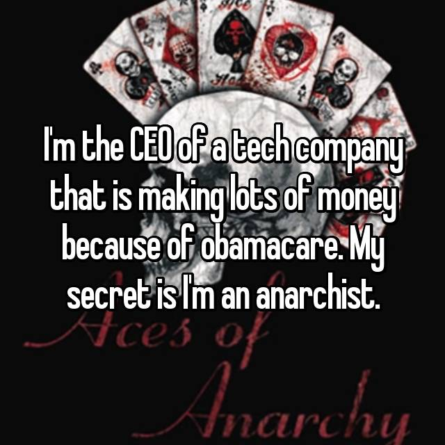 I'm the CEO of a tech company that is making lots of money because of obamacare. My secret is I'm an anarchist.