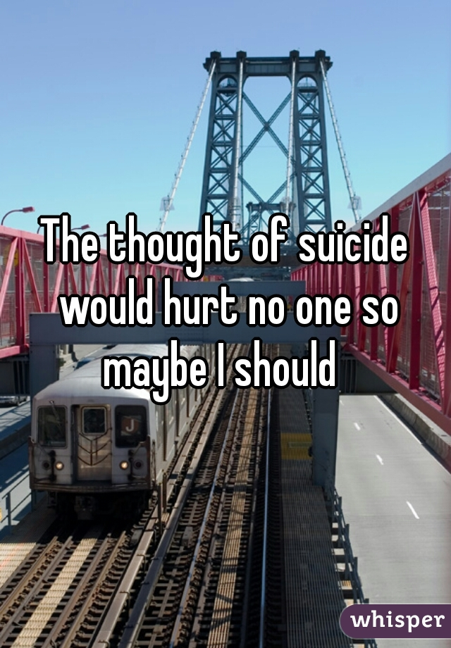 The thought of suicide would hurt no one so maybe I should