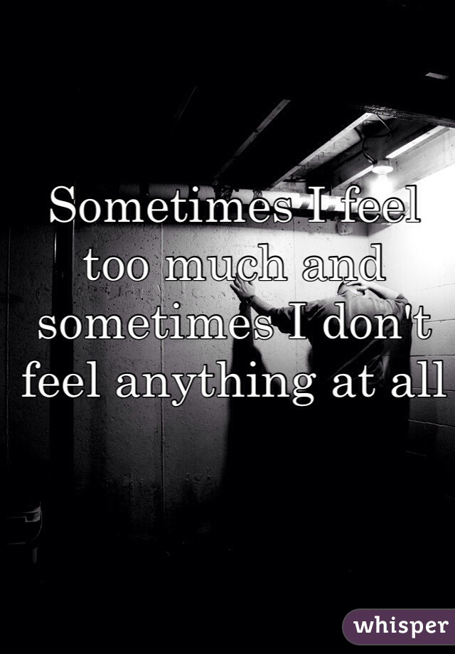 Sometimes I feel too much and sometimes I don't feel anything at all