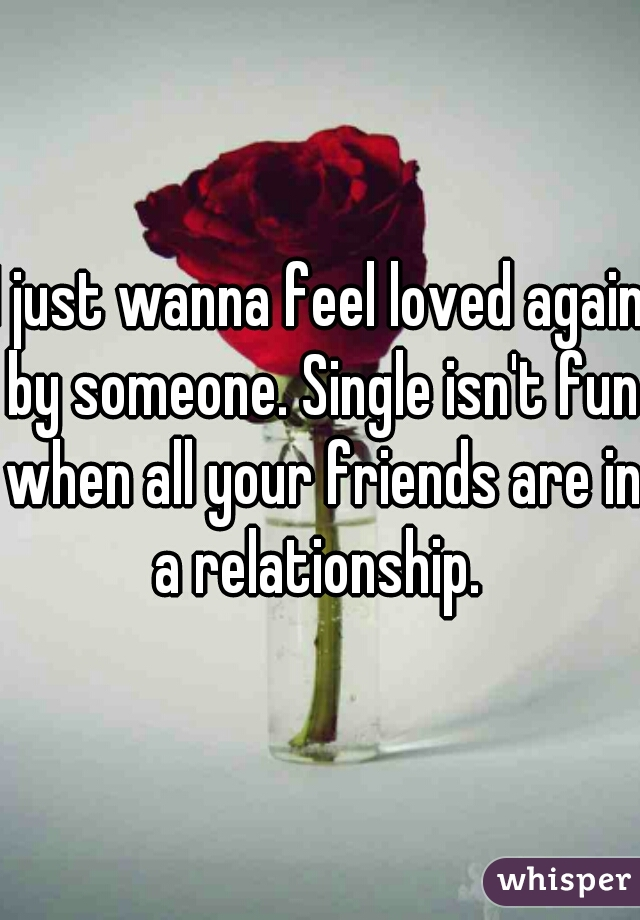 I just wanna feel loved again by someone. Single isn't fun when all your friends are in a relationship.