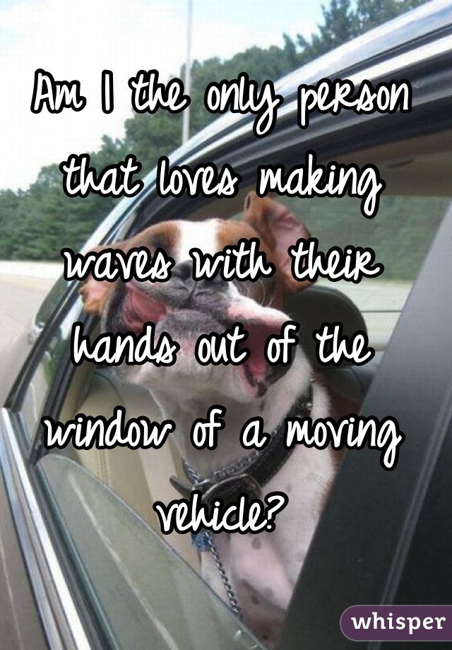 Am I the only person that loves making waves with their hands out of the window of a moving vehicle?