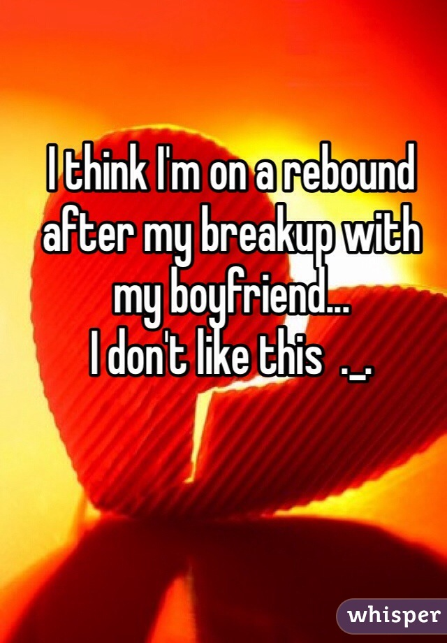 I think I'm on a rebound after my breakup with my boyfriend...  I don't like this  ._.