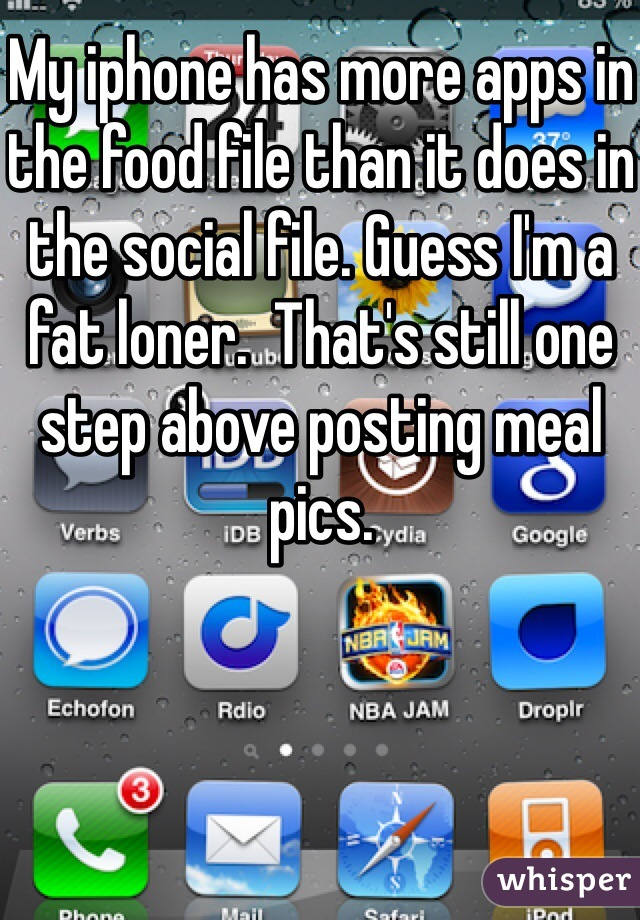 My iphone has more apps in the food file than it does in the social file. Guess I'm a fat loner.  That's still one step above posting meal pics.