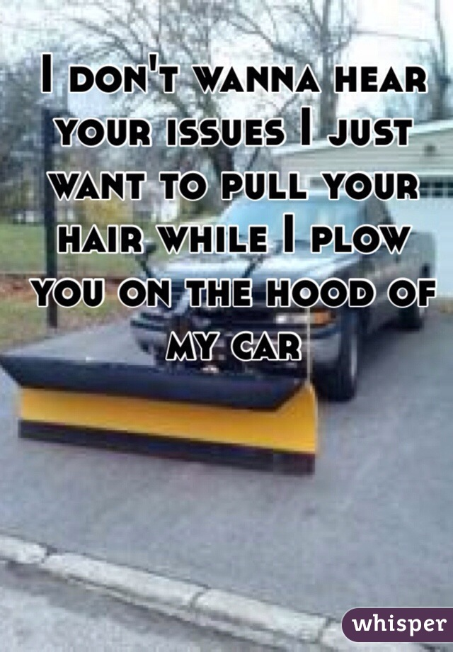 I don't wanna hear your issues I just want to pull your hair while I plow you on the hood of my car