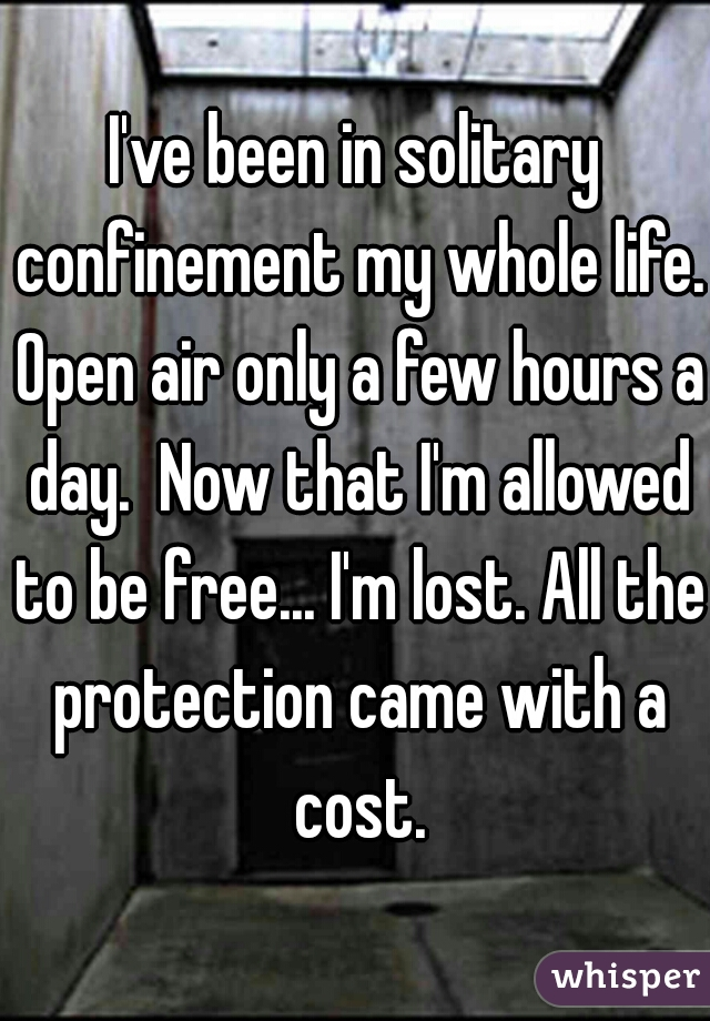 I've been in solitary confinement my whole life. Open air only a few hours a day.  Now that I'm allowed to be free... I'm lost. All the protection came with a cost.
