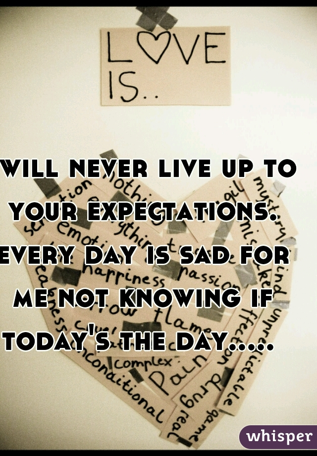 I will never live up to your expectations. every day is sad for me not knowing if today's the day.....