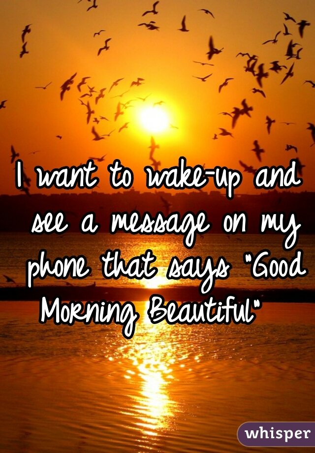 "I want to wake-up and see a message on my phone that says ""Good Morning Beautiful"""