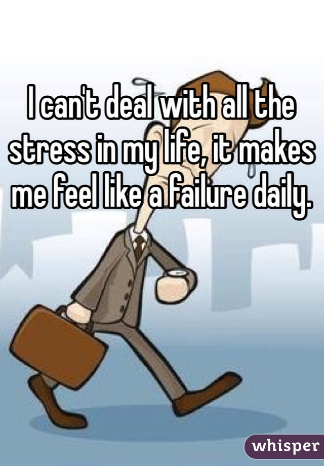 I can't deal with all the stress in my life, it makes me feel like a failure daily.