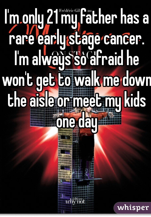 I'm only 21 my father has a rare early stage cancer.  I'm always so afraid he won't get to walk me down the aisle or meet my kids one day