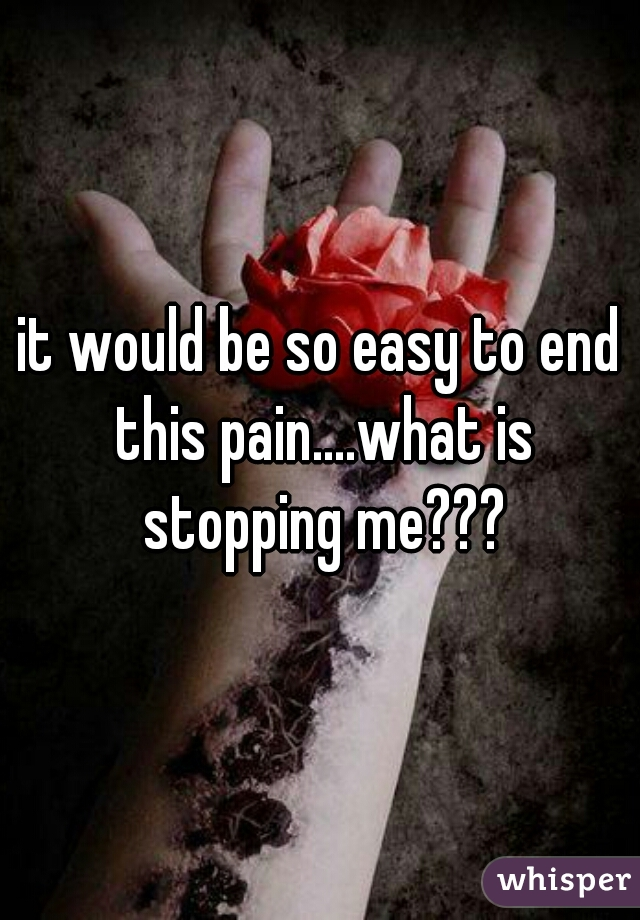 it would be so easy to end this pain....what is stopping me???