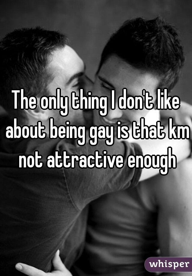 The only thing I don't like about being gay is that km not attractive enough