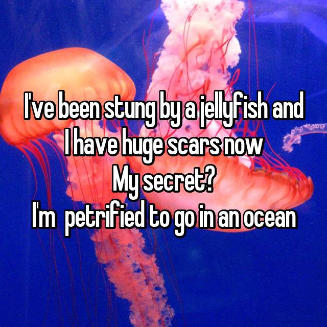 I've been stung by a jellyfish and I have huge scars now My secret? I'm  petrified to go in an ocean